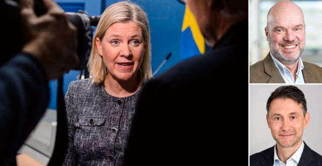Till vänster: Finansminister Magdalena Andersson. Uppe till höger: Professor Fredrik Sjöholm. Nere till höger: Andreas Wallström, chefsekonom på Swedbank. Bildbyrån och TT