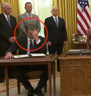 Trumps pressträff i Vita huset, Aleksandar Vucic till vänster. Vita husets Youtube-kanal/Skärmdump
