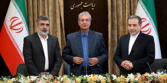 Behrouz Kamalvandi, Ali Rabiei och Abbas Araghchi. Ebrahim Noroozi / TT NYHETSBYRÅN/ NTB Scanpix
