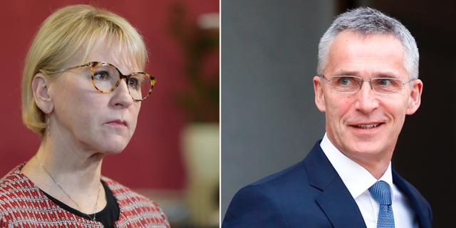 Utrikesminister Margot Wallström (S) och Natos generalsekreterare Jens Stoltenberg. TT