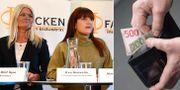 Illustrationsbilder: Eva Gouvelin ordförande för Livsmedelsarbetareförbundet, Marie Nilsson på IF Metall, Ulrika Lindstrand på Sveriges Ingenjörer. Pengar. TT