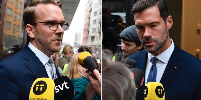 KD:s Andreas Carlson och M:s Johan Forssell. TT