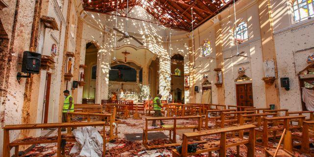 Flera kyrkor skadades i attentaten. Chamila Karunarathne / TT NYHETSBYRÅN/ NTB Scanpix