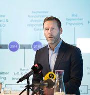 Arkivbild: Johan Dennelid, Telias vd 2017 vid en presskonferens med anledning av mutbrotten i Uzbekistan. Lars Pehrson/SvD/TT / TT NYHETSBYRÅN