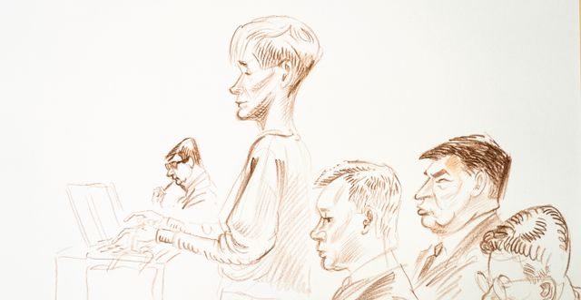 Teckning från rättegången. Håkon Mosvold Larsen / TT NYHETSBYRÅN