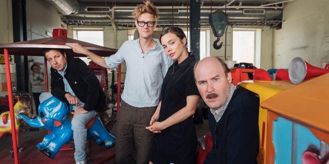 Bild från inspelningen av nya Jönssonligan-filmen. Stina Stjernkvist/TT / TT NYHETSBYRÅN