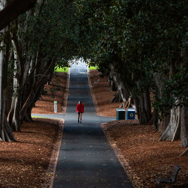 A man wearing a mask is seen walking in a Melbourne park as Melbourne goes into Stage 4 Lockdown due to the spread of COVID-19. Asanka Brendon Ratnayake / TT NYHETSBYRÅN