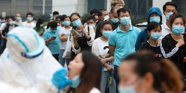 Covidtester i Wuhan, arkivbild. TT NYHETSBYRÅN
