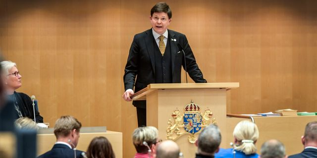 Riksdagens talman Andreas Norlén (M) nominerade på onsdagen i riksdagen Stefan Löfvén som nästa statsminister. Anders Wiklund/TT / TT NYHETSBYRÅN