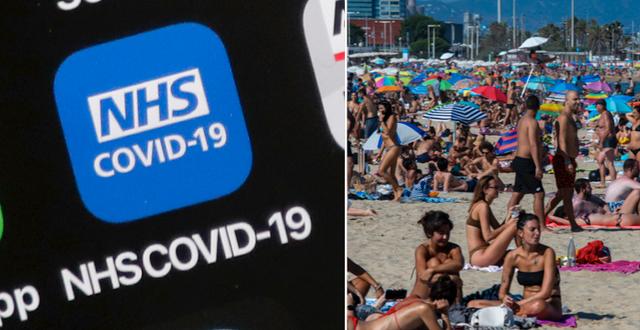 NHS-vårdapp och människor på en strand i Spanien.  TT