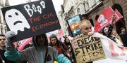 Illustrationsbild, från demonstration i London för gigekonomi-arbetares rättigheter. TT.