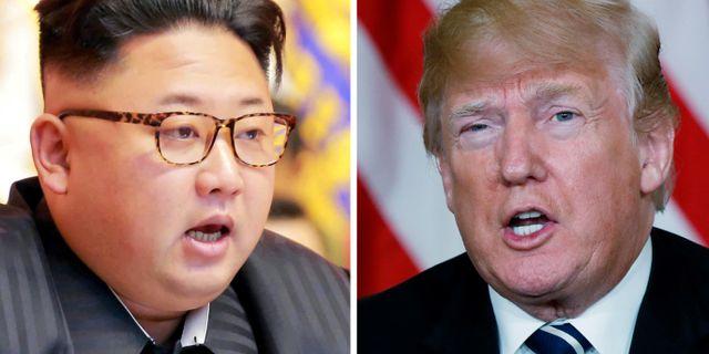 Kim Jong-Un och Donald Trump.  KCNA / TT NYHETSBYRÅN