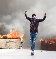 En demonstrant i Kasserine STRINGER / TT NYHETSBYRÅN