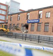 Foto taget efter ett av flera uppmärksammade inbrott mot en av Elgiganten Phone House-butiker. Vilhelm Stokstad/TT NYHETSBYRÅN