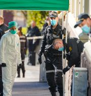 Polisens tekniker på platsen.  Heiko Junge / TT NYHETSBYRÅN