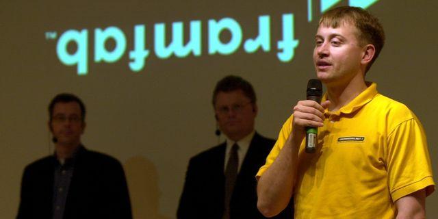 Presskonferens den 4 maj 2001 då Framfab var nära konkurs. Grundaren Jonas Birgersson hade på kort tid blivit superkändis i it-världen. Bolaget minskade personalen med 650 personer, varav hälften i Sverige.  Leif R Jansson/TT / TT NYHETSBYRÅN