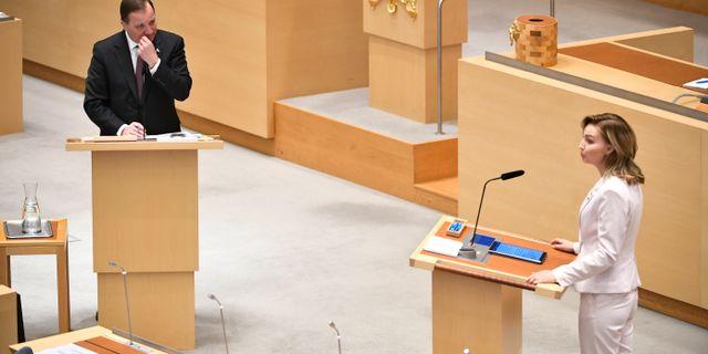 Statsminister Stefan Löfven och Ebba Busch  Ali Lorestani/TT / TT NYHETSBYRÅN