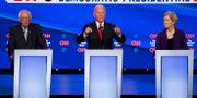 De tre toppkandidaterna Bernie Sanders, Joe Biden och Elizabeth Warren John Minchillo / TT NYHETSBYRÅN
