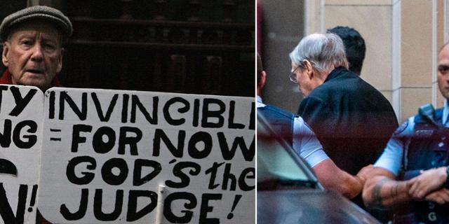 Demonstrant protesterar mot George Pell, till höger.  TT