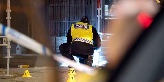 Polisen arbetar på brottsplatsen Johan Nilsson/TT / TT NYHETSBYRÅN