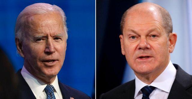 Joe Biden och Olaf Scholz.  TT