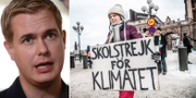 Gustav Fridolin (MP) och Greta Thunberg. TT