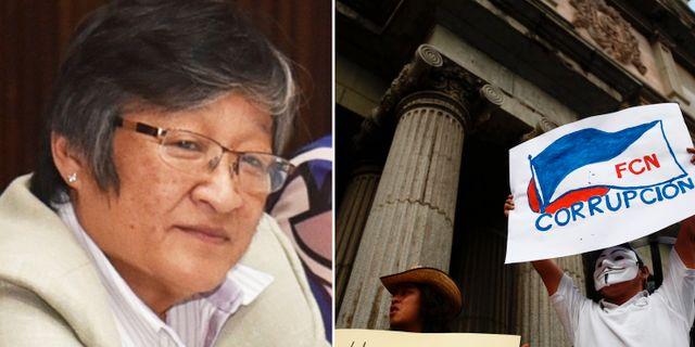 Vänster: människorättsförsvararen Helen Mack. Höger: En aktivist protesterar mot korruption i Guatemala. TT