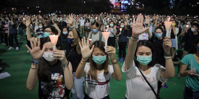 Människor uppmanades att hålla avstånd under protesterna. Kin Cheung / TT NYHETSBYRÅN