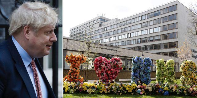 Boris Johnson den 25 mars/Sjukhuset där han nu vårdas TT