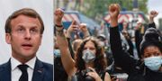 Emmanuel Macron. Helgens demonstrationer i Paris. TT