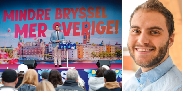 Jimmie Åkesson och Albert Sadiku. TT/Liberalerna