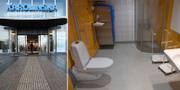 Toalett på barnonkologen vid pressvisningen av den nybyggda sjukhusbyggnaden Nya Karolinska Solna i november 2016. TT