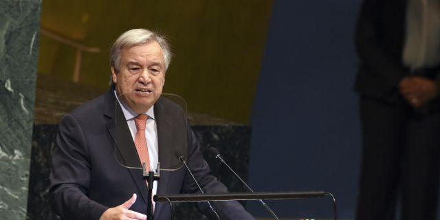 António Guterres under sitt inledningsanförande i FN:s generalförsamling. BRYAN R. SMITH / AFP