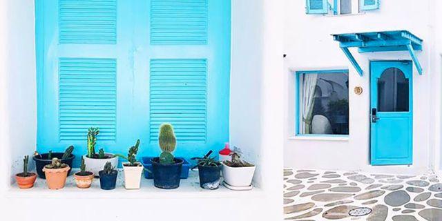 I Santorini Park finns grekiska gränder, butiker och hotell. Santorini Park Cha-Am