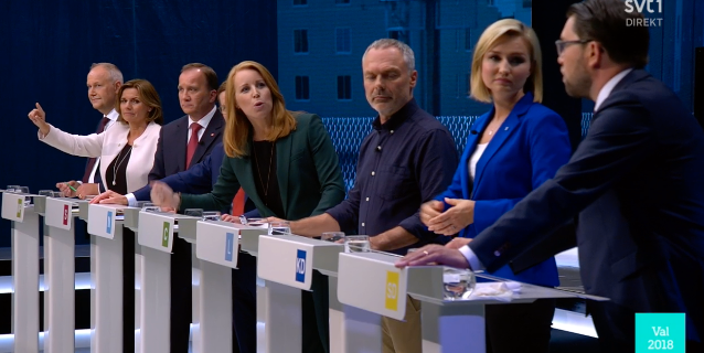 Bild från debatten. SVT