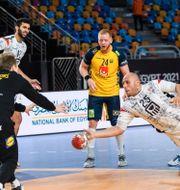Svenska målvakten Mikael Aggefors räddar ett mål i matchen mot Egypten. MATHIAS BERGELD / BILDBYRÅN