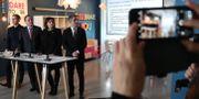 Gustav Fridolin, utbildningsmminiset (MP), statsminister Stefan Löfven (S), Isabella Lövin, minister för internationellt utvecklingssamarbete och klimat samt vice statsminister, (MP), Ibrahim Baylan, samordnings- och energiminister, (S). Jeppe Gustafsson/TT / TT NYHETSBYRÅN