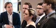 H&M:s vd Karl-Johan Persson till vänster. SD:s gruppledare Mattias Karlsson, Paula Bieler, partiledare Jimmie Åkesson och partisekreterare Richard Jomshof.  TT
