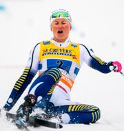 Maja Dahlqvist går i mål. Bildbyrån