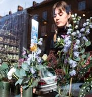 Buketter sätts fram inför alla hjärtans dag i blomsteraffären Florera vid S:t Knuts torg i Malmö i februari 2019. Johan Nilsson/TT / TT NYHETSBYRÅN