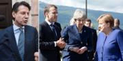 Italiens nya premiärminister Guiseppe Conte (t v), Macron, May och Merkel (t h). TT