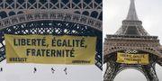 Här hänger Greenpeaceaktivisterna upp banderollen. TT