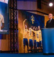 Janne Andersson vid truppmottagningen. Pontus Lundahl/TT / TT NYHETSBYRÅN