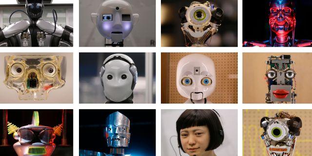Collage föreställande en lång rad robotansikten. Från utställning om 500 år av teknologiska framsteg, Science Museum in London, 2017. Alastair Grant / TT / NTB Scanpix
