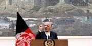 Presidenten Ashraf Ghani vid en pressträff igår. MOHAMMAD ISMAIL / TT NYHETSBYRÅN