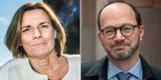Tomas Eneroth (S) och Isabella Lövin (MP). Arkivbilder. TT