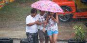 Regn i Tuguegarao city på fredagen. Aaron Favila / TT NYHETSBYRÅN