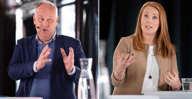 Jonas Sjöstedt och Annie Lööf debatterar. TT