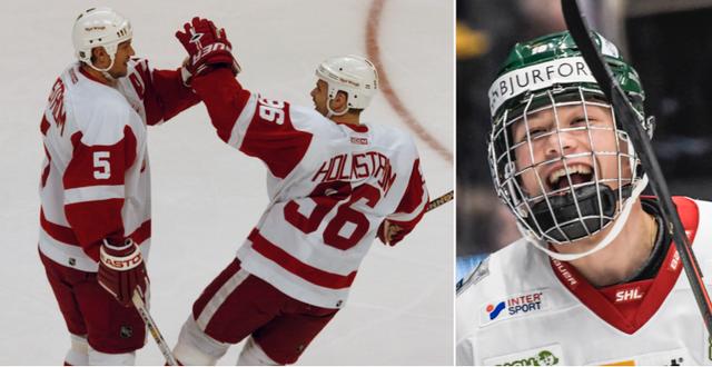 Nicklas Lidström och Tomas Holmström – två profiler i Red Wings. Till höger supertalangen Lucas Raymond. TT