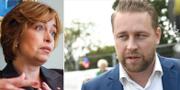 Socialförsäkringsministern Annika Strandhäll (S) och SD:s gruppledare Mattias Karlsson. TT
